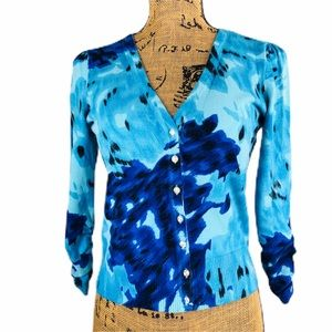 INC Abstract Floral Print Cardigan Button Front